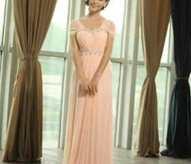 Women's Chiffon Floor Length Strapless CapSleeves Evening Pink Long Bridesmaid Dresses