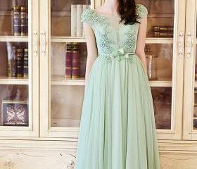 2016 Women's Cap Sleeve Lace Neckline Ruched Bust Evening Gowns Real Photos Bridesmaid Dresses Hight quality Evening Dresses
