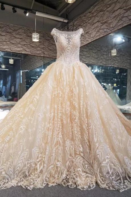New Ball Gown Lace Wedding Dresses Custom Made Princess Wedding Gown High Quality Luxurious Bridal Wedding Gown Champange Lace Crystal Bridal Gowns