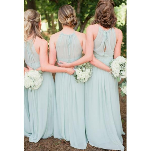 Sage Green Bridesmaid Dresses Long 2017 New Style Halter Pleat Prom Evening Dresses Bridesmaid Gown For Wedding