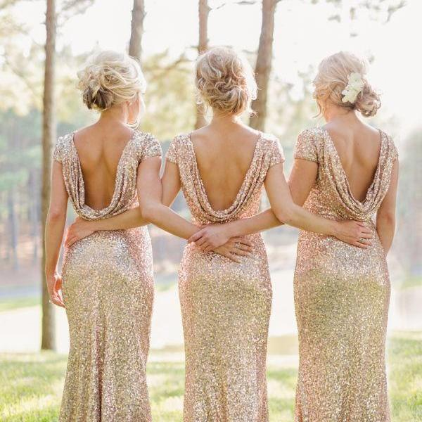 2016 Prom Dress Short Sleeve Long Evening Dress Rose Gold  Bridesmaid Dresses